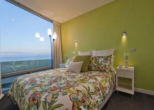The second of three bedrooms in the beach house in New Zealand.