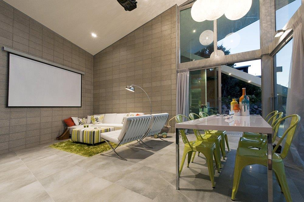 Projector Screen In Living Room Designer Ocean View House New Zealand