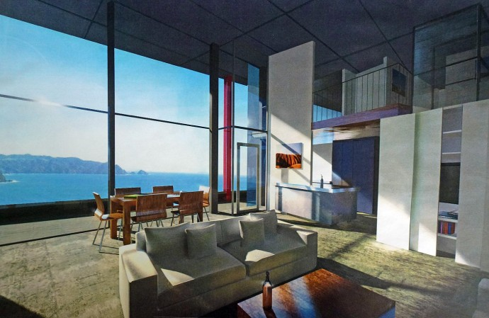 Architektenentwurf des Wohnzimmers. Haus zu verkaufen in Neuseeland.